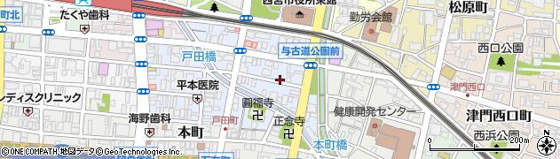 兵庫県西宮市与古道町周辺の地図