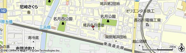 尾浜名月団地周辺の地図