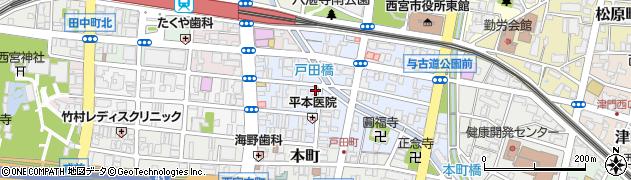 兵庫県西宮市戸田町周辺の地図