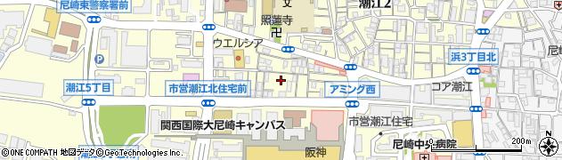 兵庫県尼崎市潮江1丁目周辺の地図