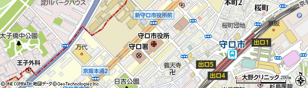 大阪府守口市周辺の地図