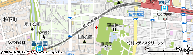 兵庫県西宮市社家町周辺の地図