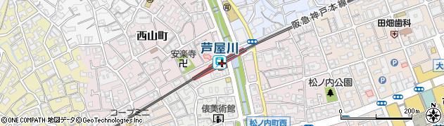 兵庫県芦屋市周辺の地図