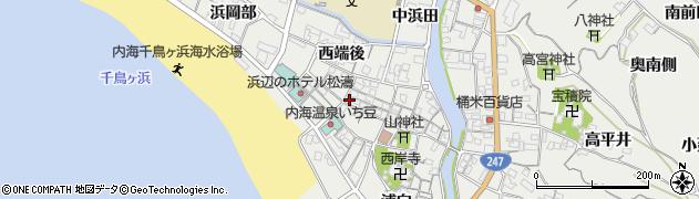 愛知県南知多町(知多郡)内海(新田)周辺の地図