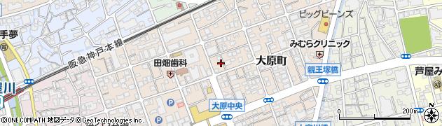 兵庫県芦屋市大原町周辺の地図