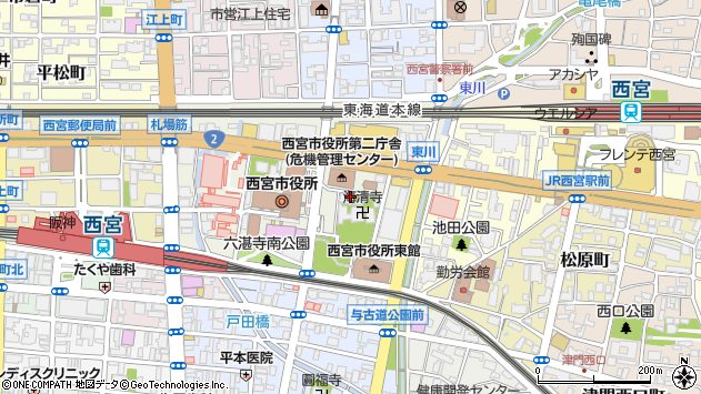 〒662-0918 兵庫県西宮市六湛寺町の地図