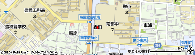 愛知県豊橋市町畑町(森田)周辺の地図