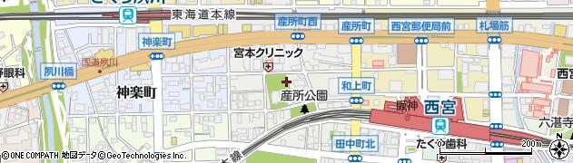 兵庫県西宮市産所町周辺の地図