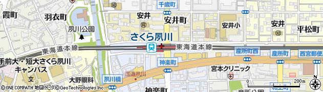 兵庫県西宮市周辺の地図