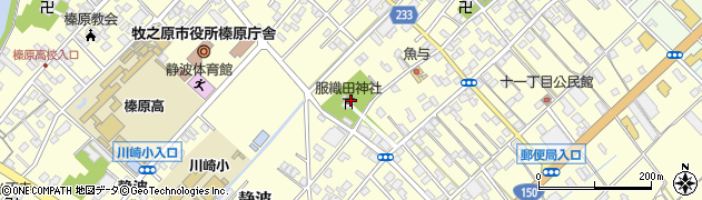 服織田神社周辺の地図