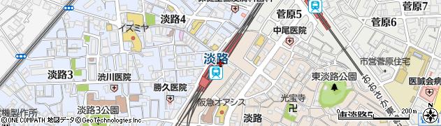 大阪府大阪市東淀川区周辺の地図