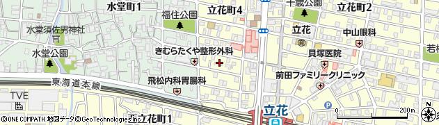 兵庫県尼崎市立花町4丁目周辺の地図