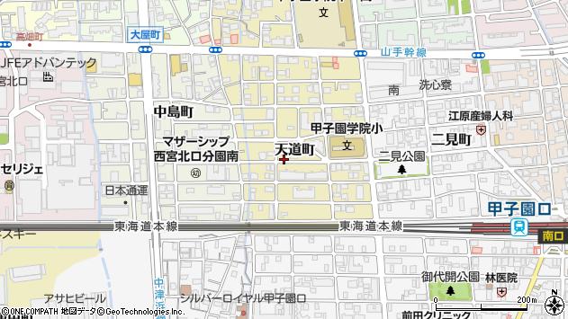 〒663-8104 兵庫県西宮市天道町の地図