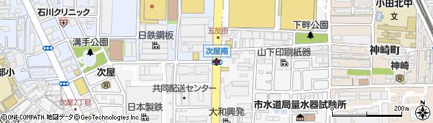 次屋南周辺の地図
