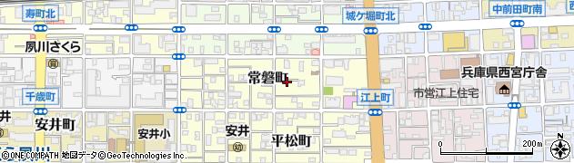 兵庫県西宮市常磐町周辺の地図
