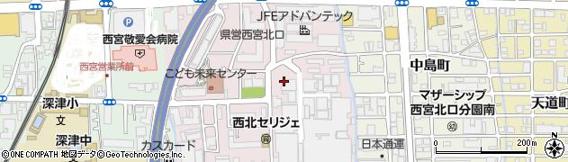 兵庫県西宮市高畑町周辺の地図