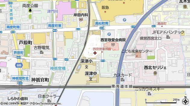 〒663-8203 兵庫県西宮市深津町の地図