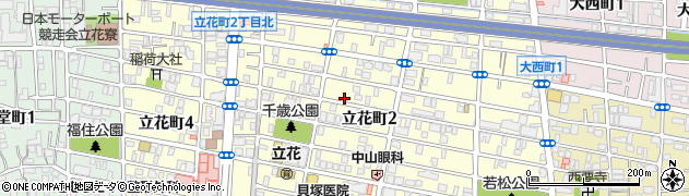 兵庫県尼崎市立花町周辺の地図