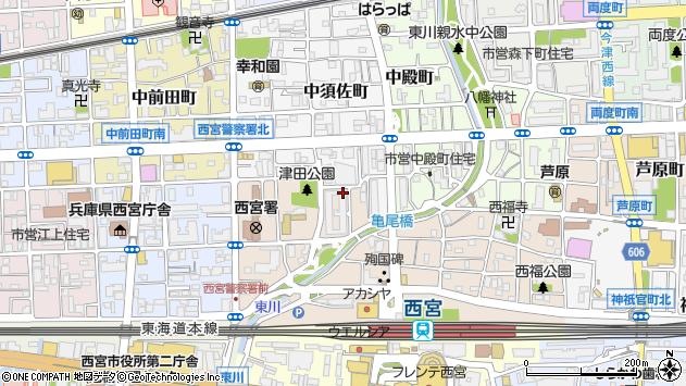 〒662-0853 兵庫県西宮市津田町の地図