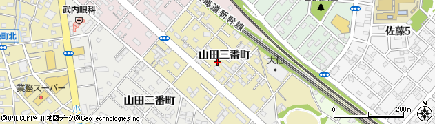 愛知県豊橋市山田三番町周辺の地図