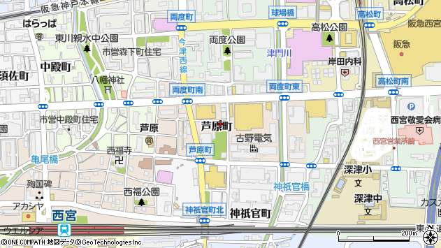 〒662-0842 兵庫県西宮市芦原町の地図
