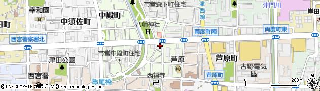 兵庫県西宮市神明町周辺の地図