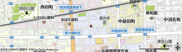 兵庫県西宮市城ケ堀町周辺の地図