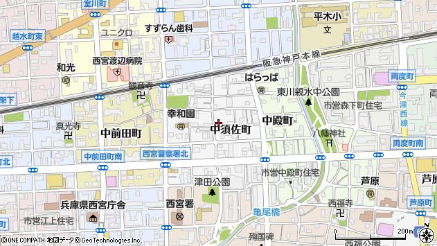 〒662-0851 兵庫県西宮市中須佐町の地図