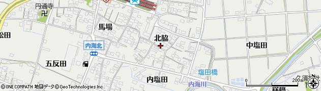 愛知県南知多町(知多郡)内海(北脇)周辺の地図