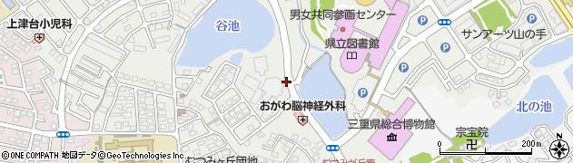 三重県津市一身田上津部田周辺の地図