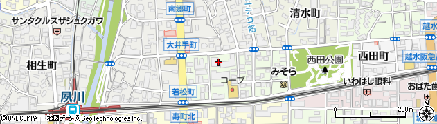 兵庫県西宮市若松町周辺の地図