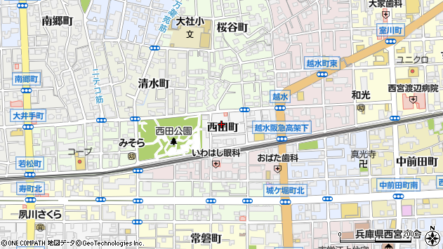 〒662-0034 兵庫県西宮市西田町の地図