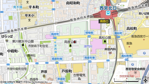〒662-0841 兵庫県西宮市両度町の地図