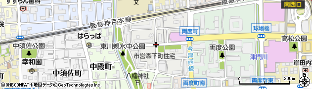 兵庫県西宮市森下町周辺の地図