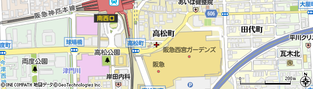 兵庫県西宮市高松町周辺の地図