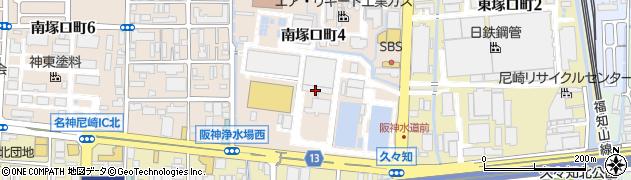 兵庫県尼崎市南塚口町4丁目周辺の地図