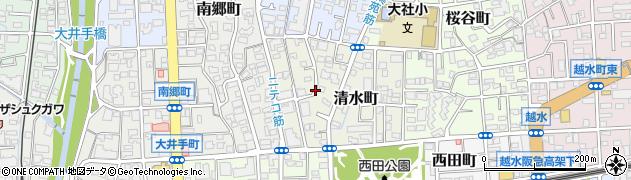 兵庫県西宮市清水町周辺の地図