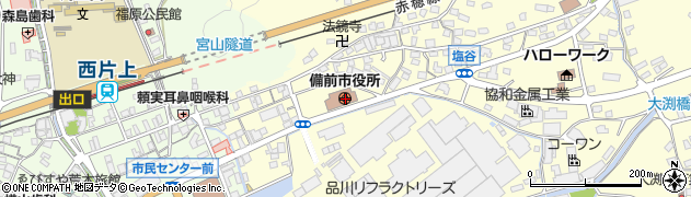 岡山県備前市周辺の地図