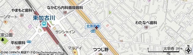 北芳苑南周辺の地図