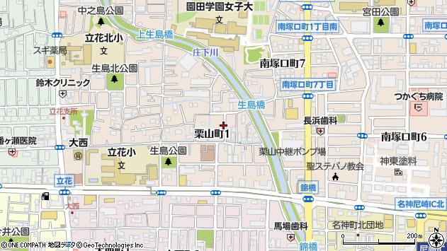〒661-0013 兵庫県尼崎市栗山町の地図