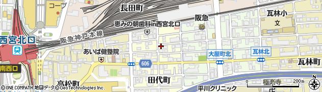 兵庫県西宮市田代町周辺の地図