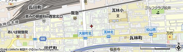 兵庫県西宮市大屋町周辺の地図