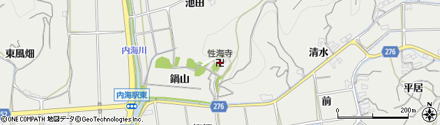 愛知県南知多町(知多郡)内海(鍋山)周辺の地図