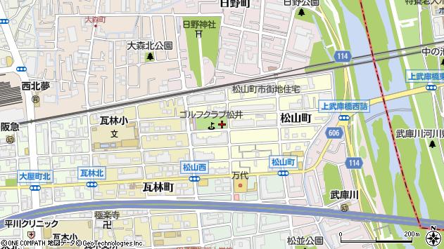 〒663-8101 兵庫県西宮市松山町の地図