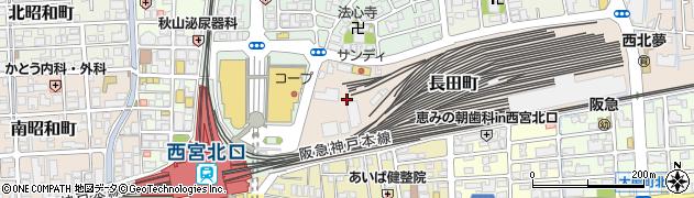 兵庫県西宮市長田町周辺の地図