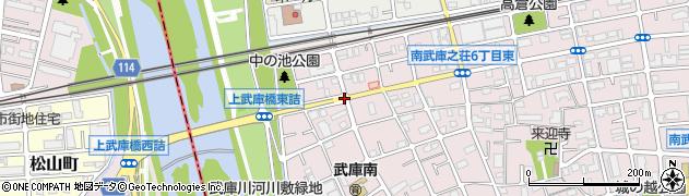 南武庫之荘6西周辺の地図