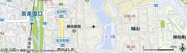 兵庫県西宮市名次町周辺の地図