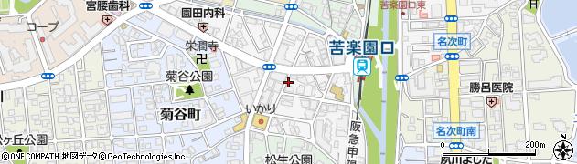 兵庫県西宮市南越木岩町周辺の地図