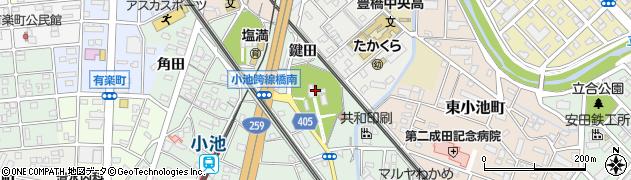 愛知県豊橋市小池町(山田川)周辺の地図