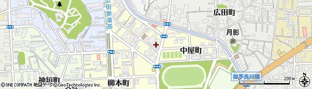 兵庫県西宮市中屋町周辺の地図